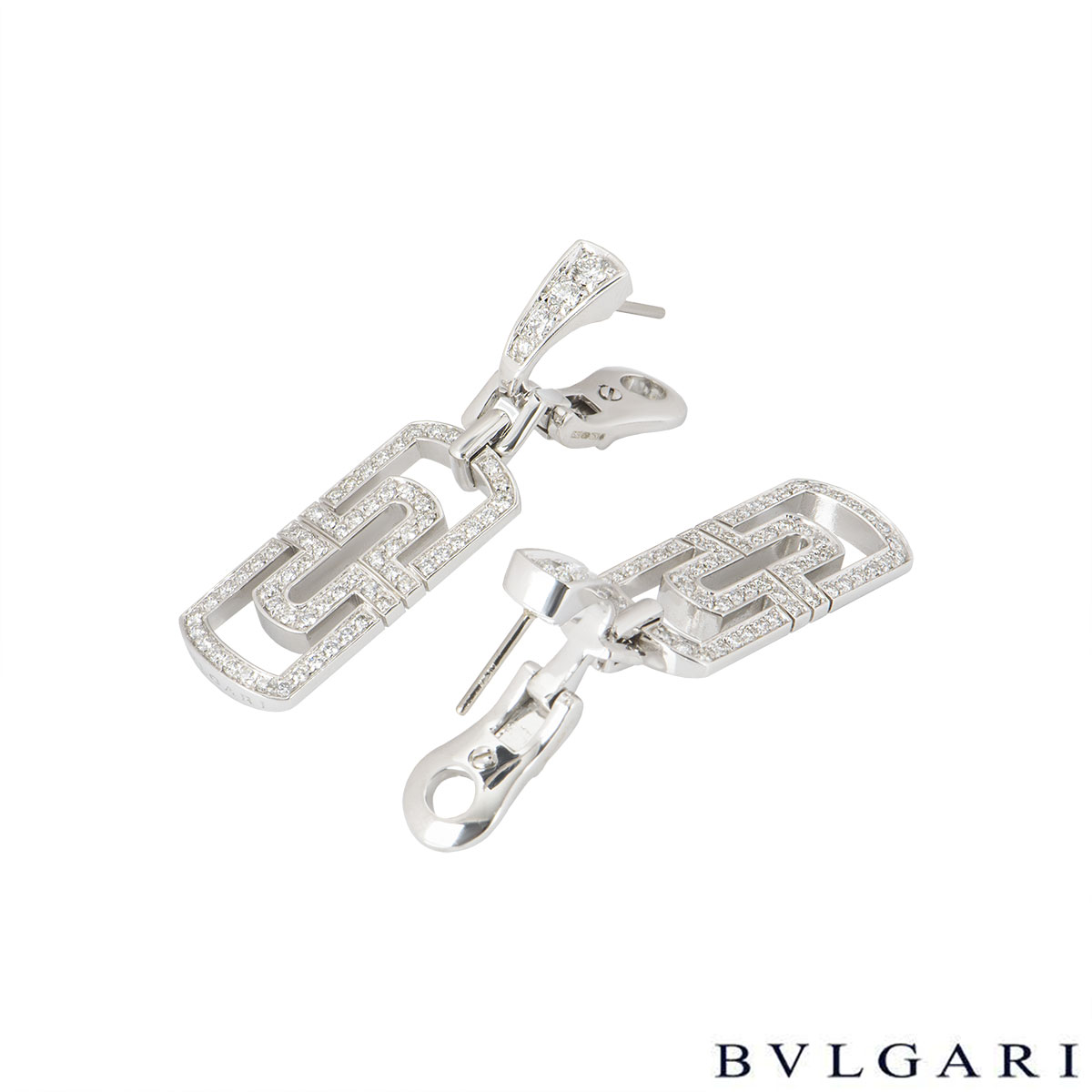 Bvlgari White Gold Diamond Drop Parentesi Earrings